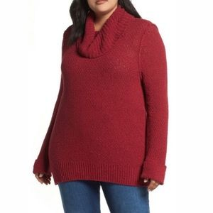 Caslon Cowl Neck Boucle cuffed sweater Small NWOT